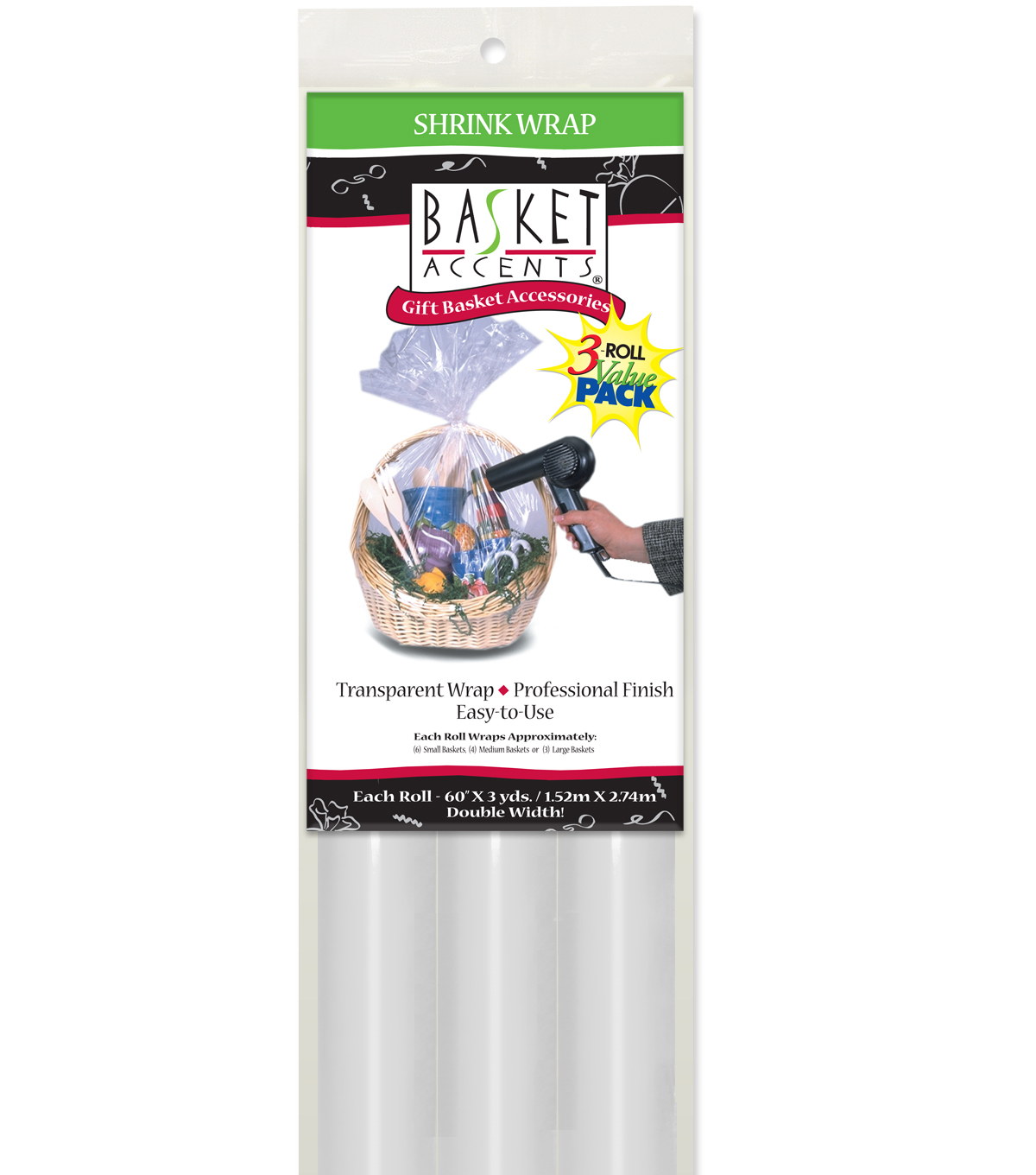 Clear Shrink Rolls-3 pk