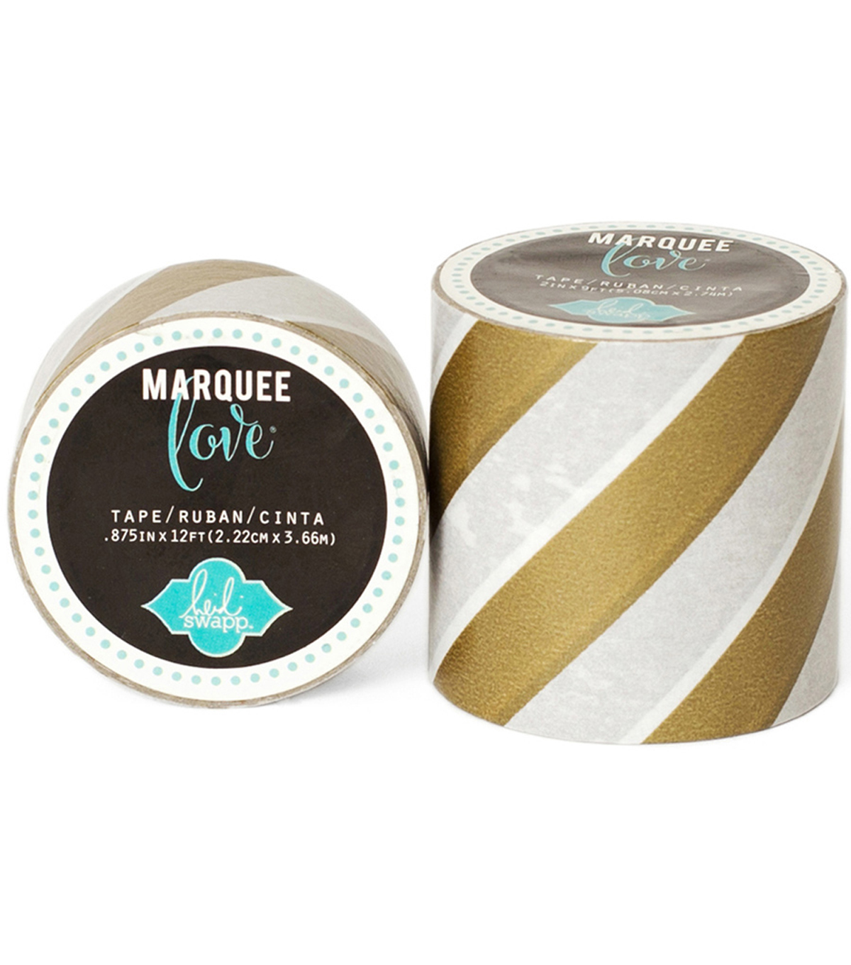 Heidi Swapp Marquee Love Washi Tape 2\u0022-Gold Foil Stripe, 9\u0027