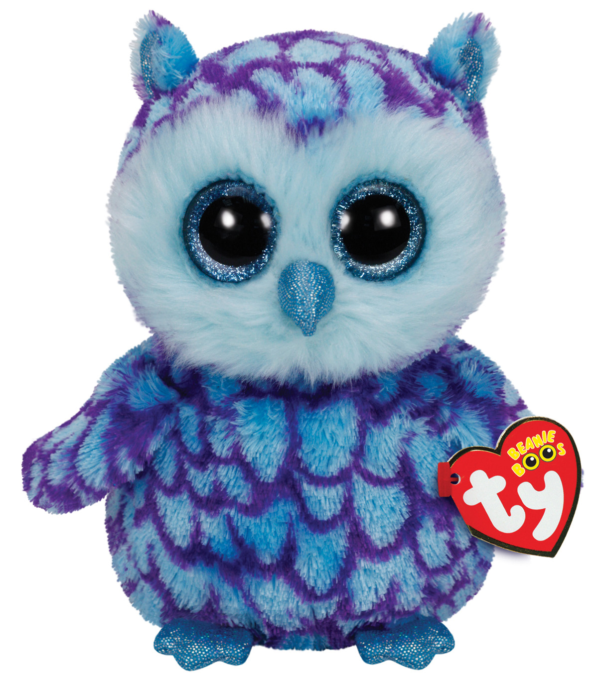 Ty Beanie Boos Oscar blue purple Owl Medium Plush