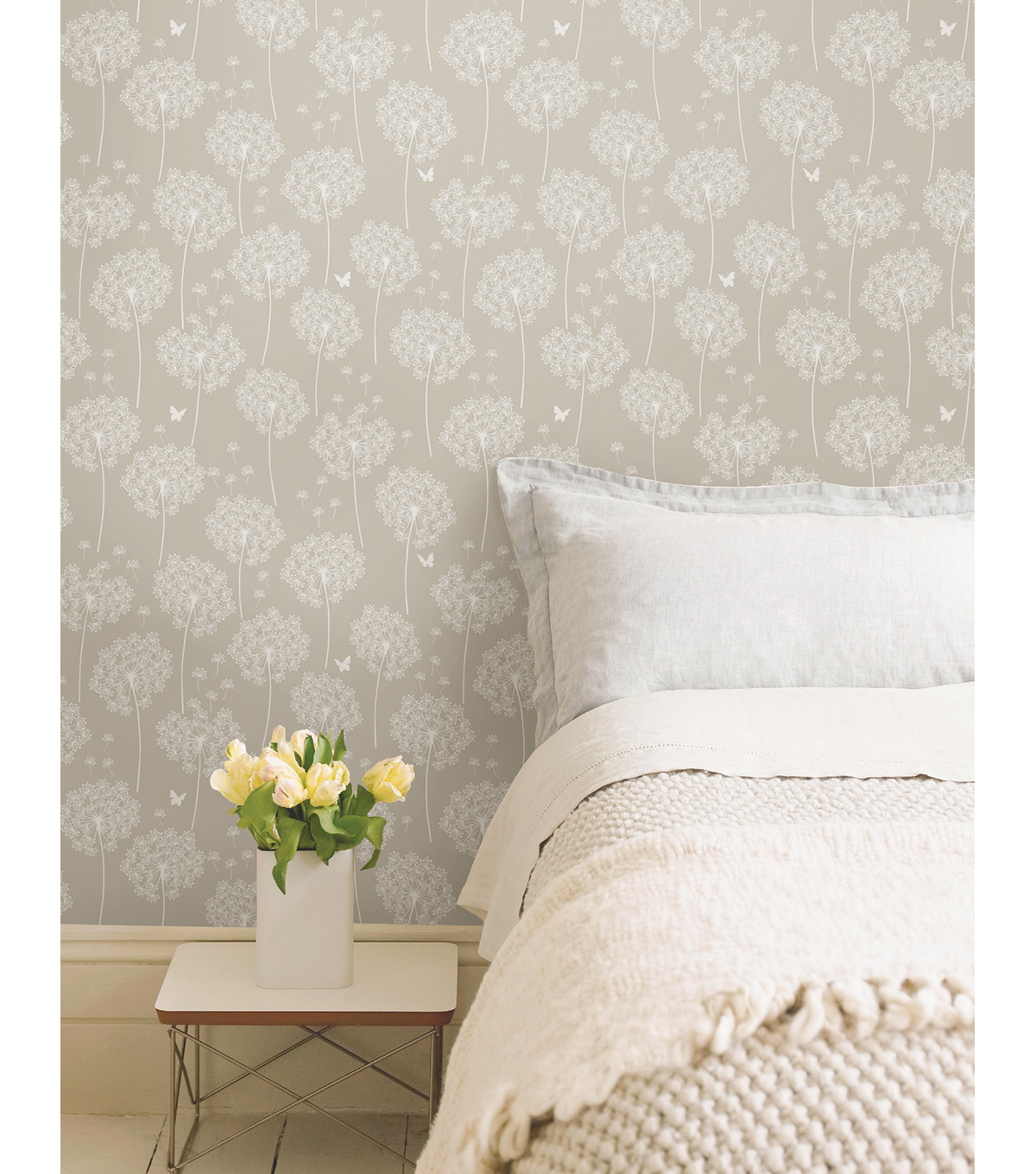WallPops NuWallpaper Dandelion Taupe Peel And Stick Wallpaper