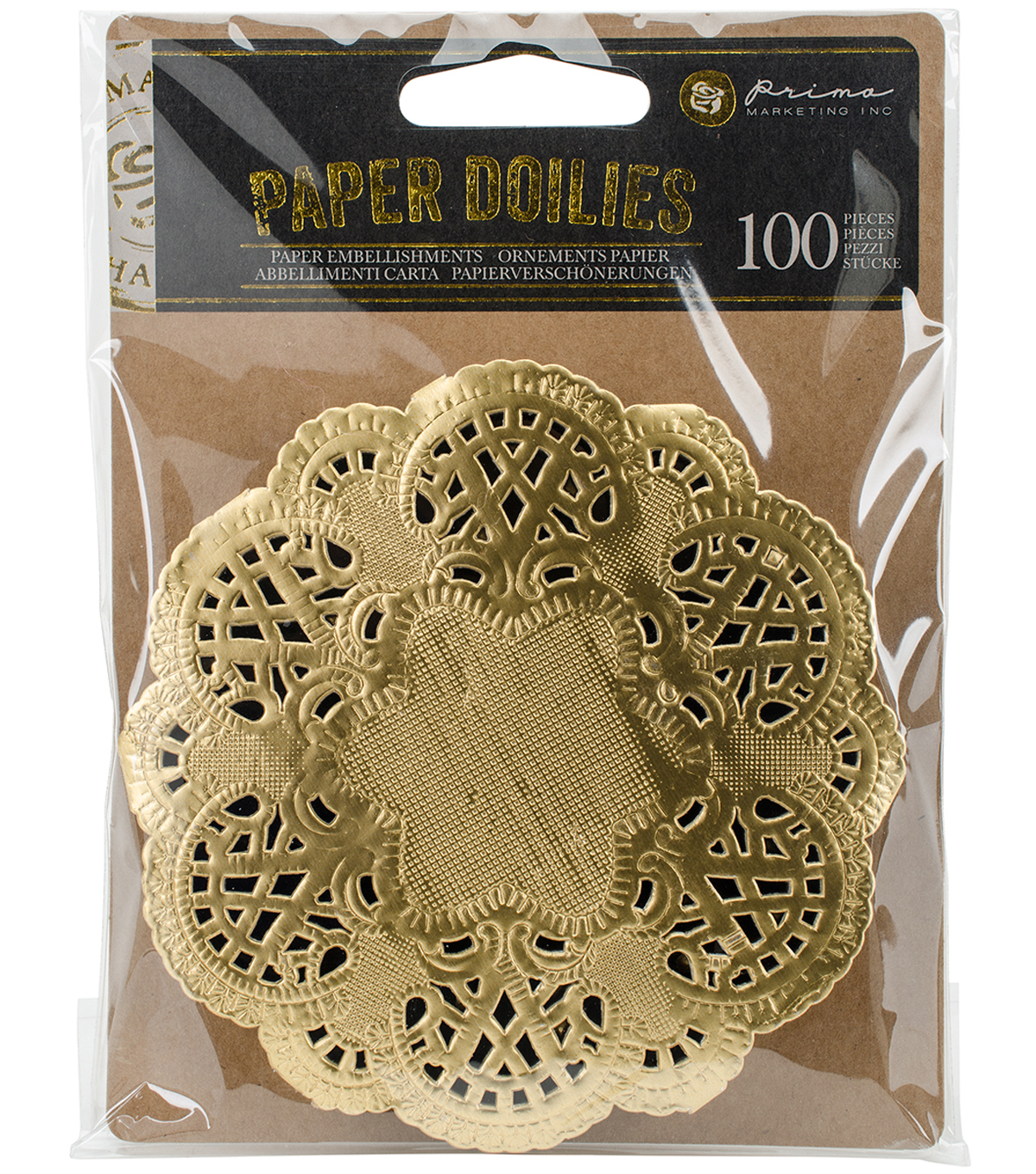 "Prima Marketing Paper Doilies 4"" 100/Pkg-Round Gold"