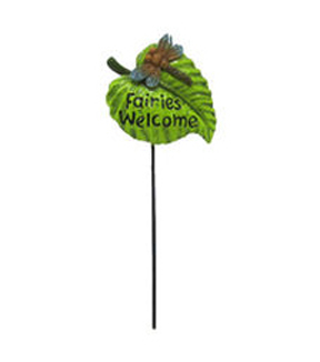 Fairy Garden Pick-Fairies Welcome Leaf