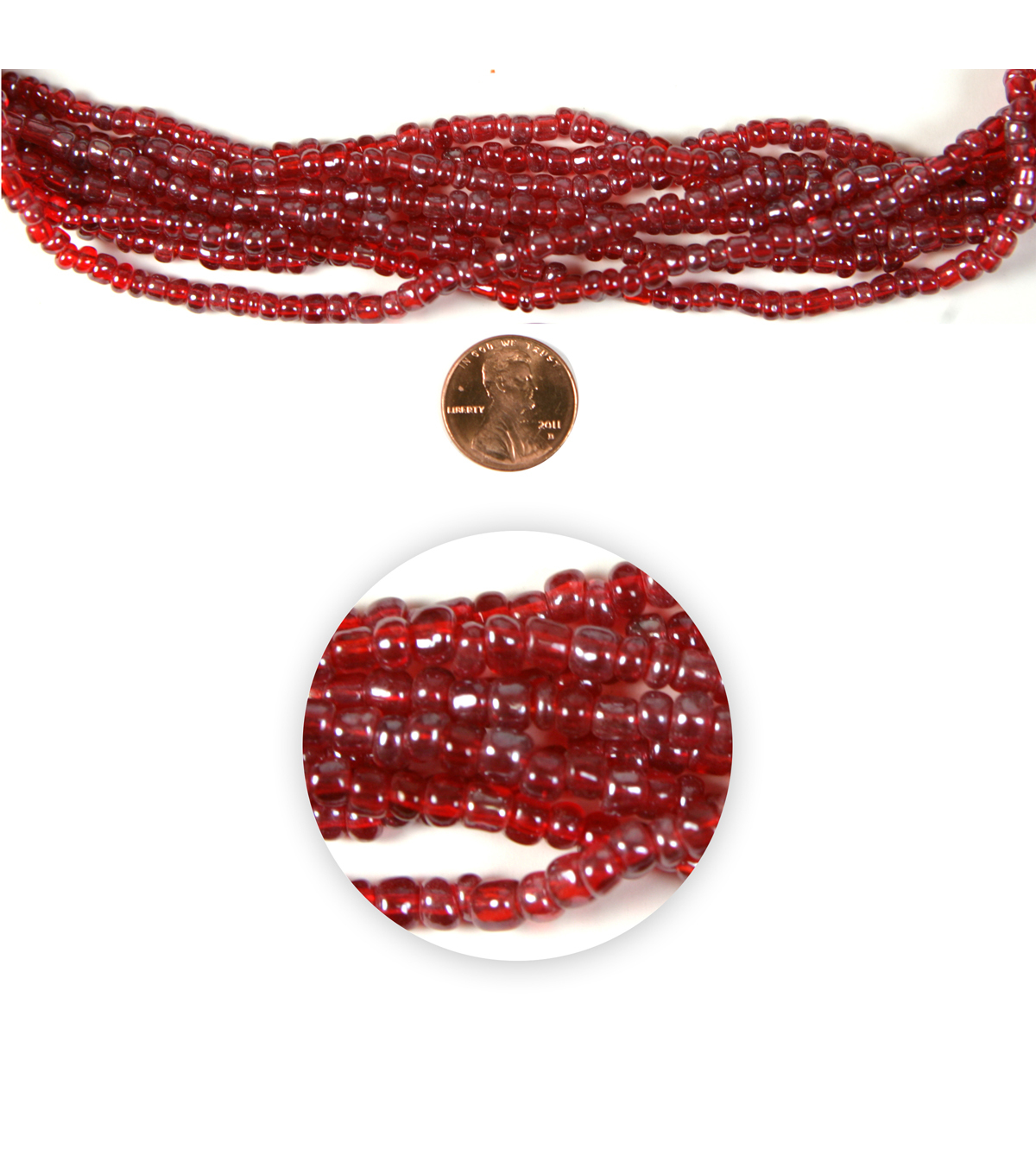 Blue Moon Strung Glass Seed Bead Hank,Translucent Red