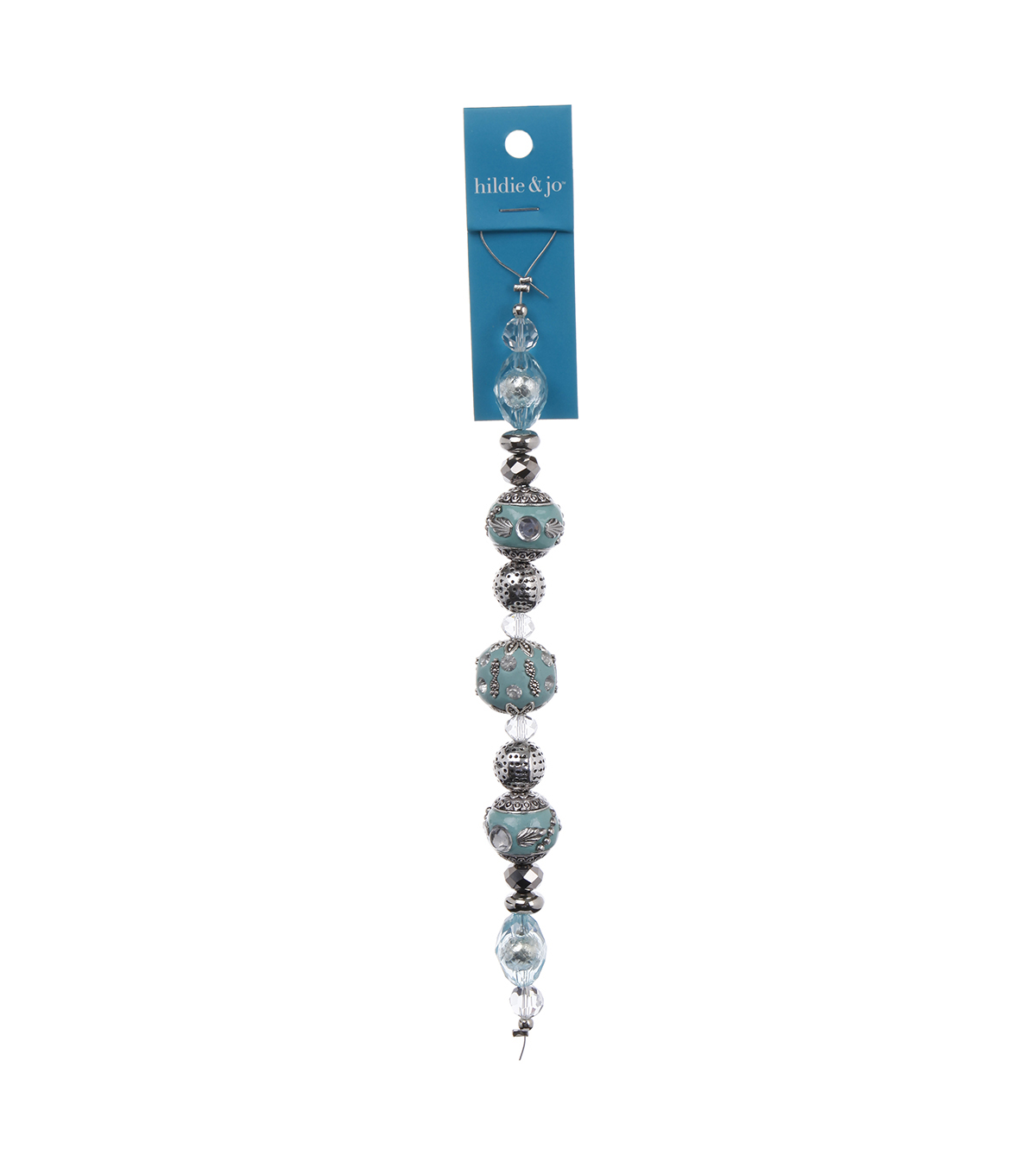 hildie & jo™ 7'' Strung Beads-Light Blue & Silver