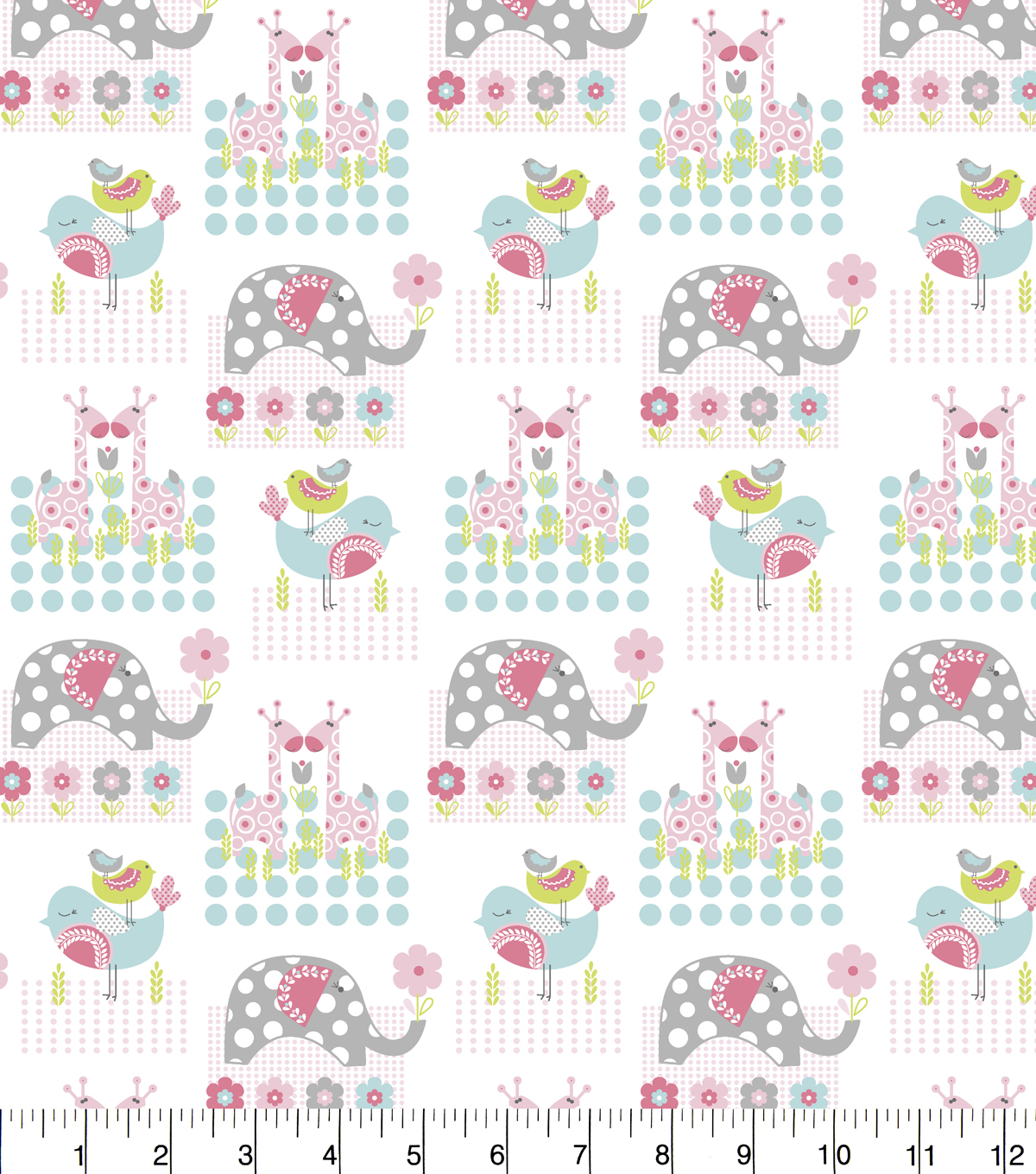"Nursery Flannel Fabric 43""-Jungle Animals Square"