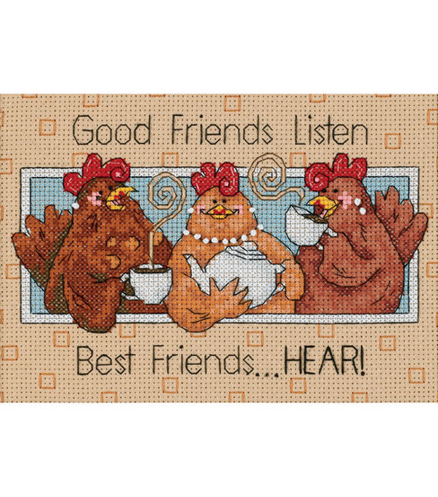 Dimensions Good Friends Listen Mini Counted Cross Stitch Kit-7\u0022X5\u0022