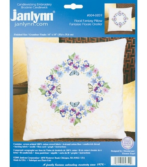 Janlynn Floral Fantasy Pillow Candlewicking Embroidery Kit