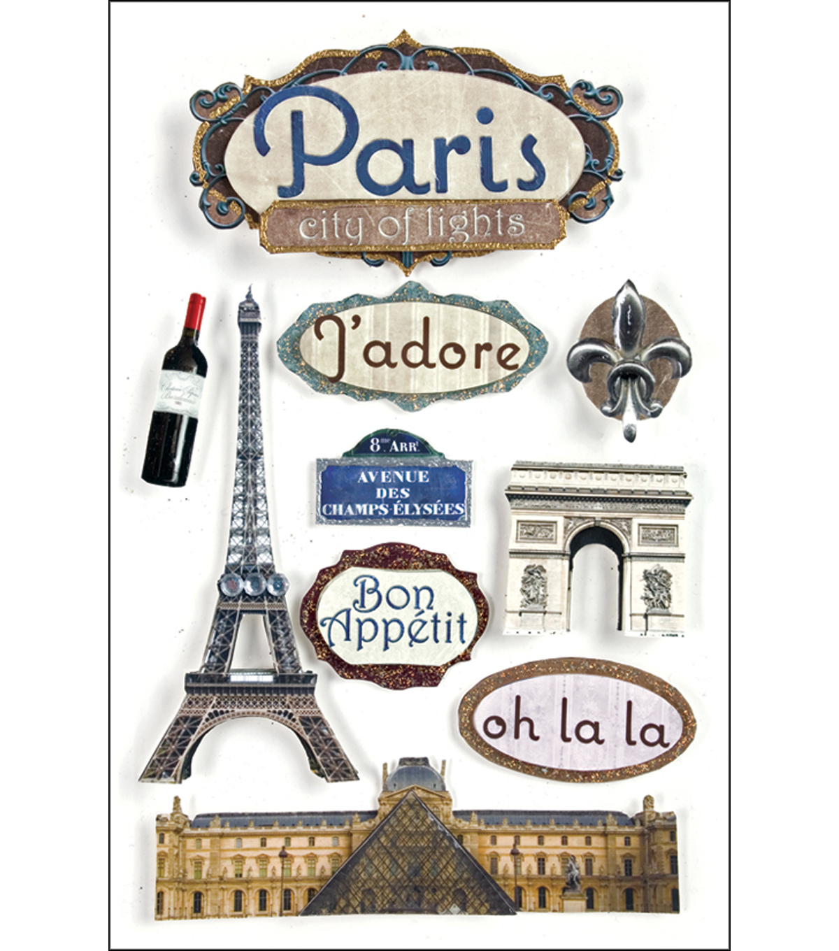 Paper House Travel 3-D Stickers-Paris