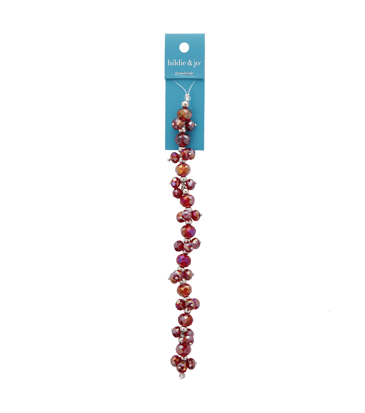 "Blue Moon Beads 7"" Crystal Strand, Dangles, Red"