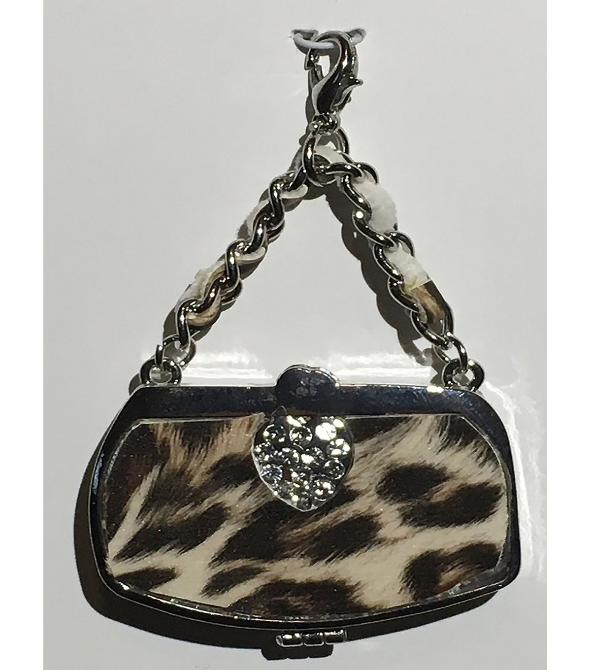 Clip on Purse-Animal Print Silver