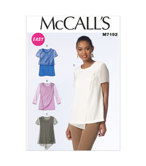 McCall's Pattern M7192-0Y0 Misses' Tops-XSM-SML-MED