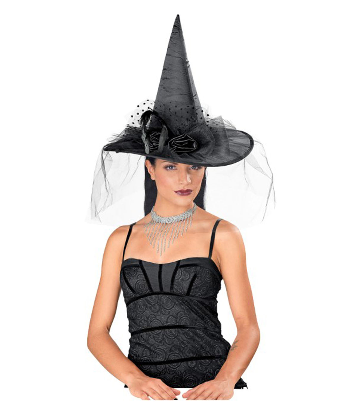 Maker's Halloween Witch Hat with Flowers-Black