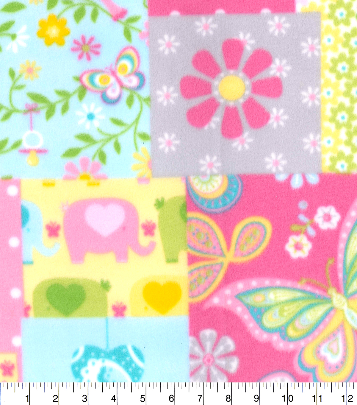 Nursery Fleece Fabric 58\u0022-Pink Elephant Patchwork
