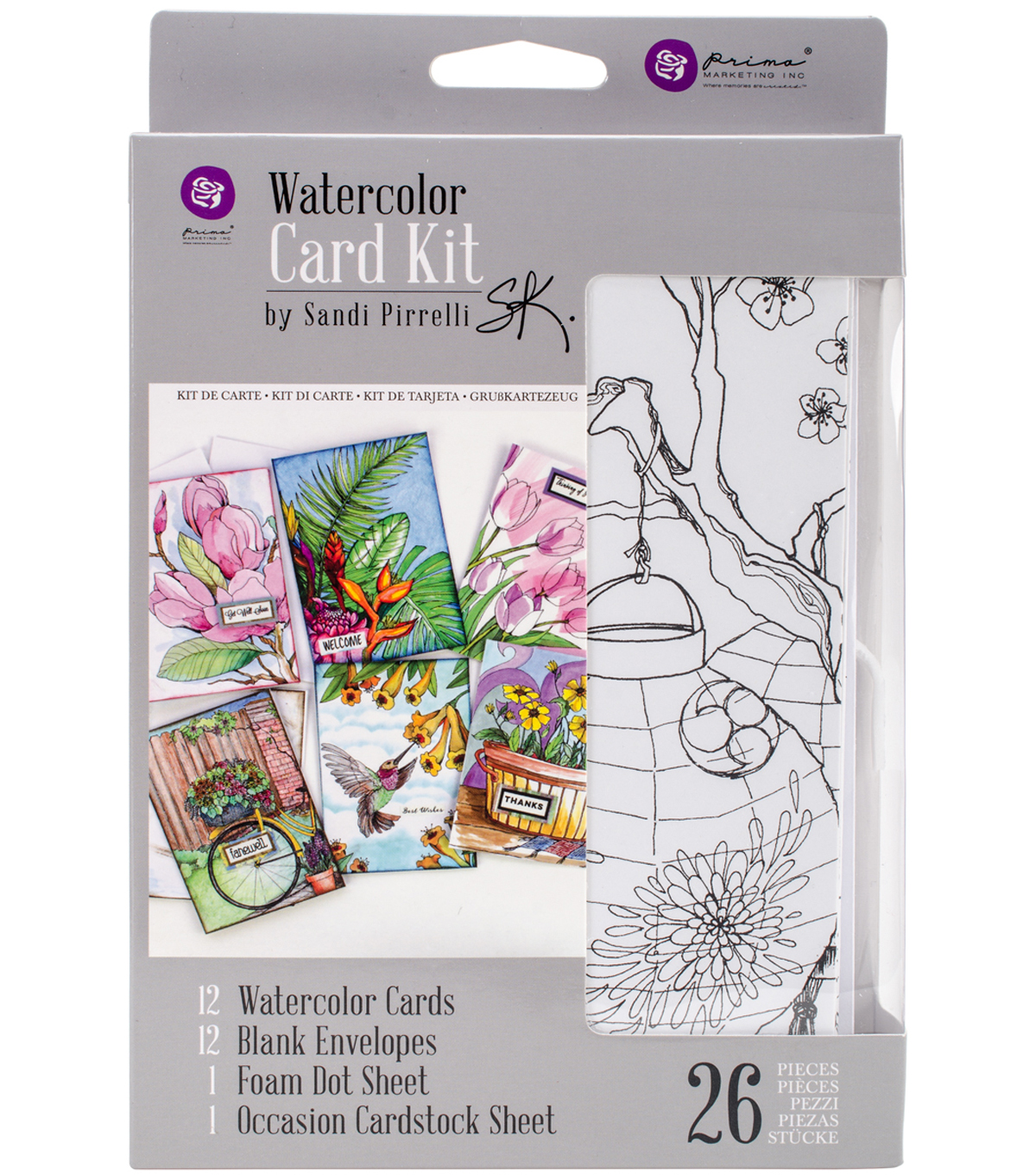 Prima Watercolor Coloring Card Kit-Makes 12