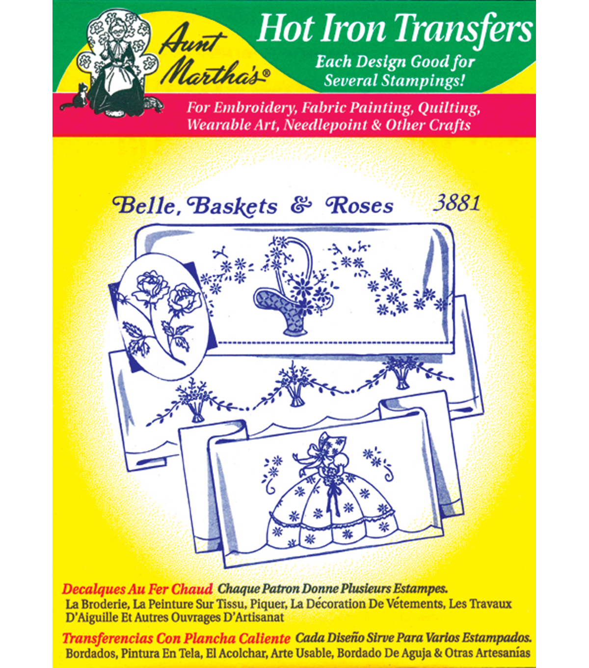 Aunt Martha's Iron-On Transfers-Linen/Monograms 24 Pack