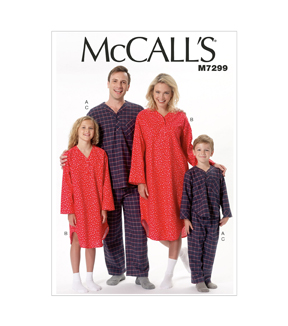 McCall\u0027s Pattern M7299 Adult & Children\u0027s Sleep & Lounge-Size S-XL