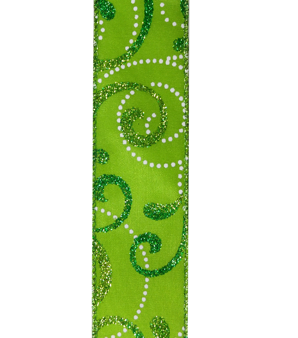 Maker\u0027s Holiday Christmas Ribbon 1.5\u0027\u0027x30\u0027-Glitter Swirls on Lime