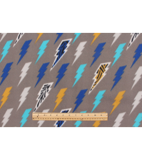 Blizzard Fleece Fabric 59\u0022-Multi Colored Lightening Bolts