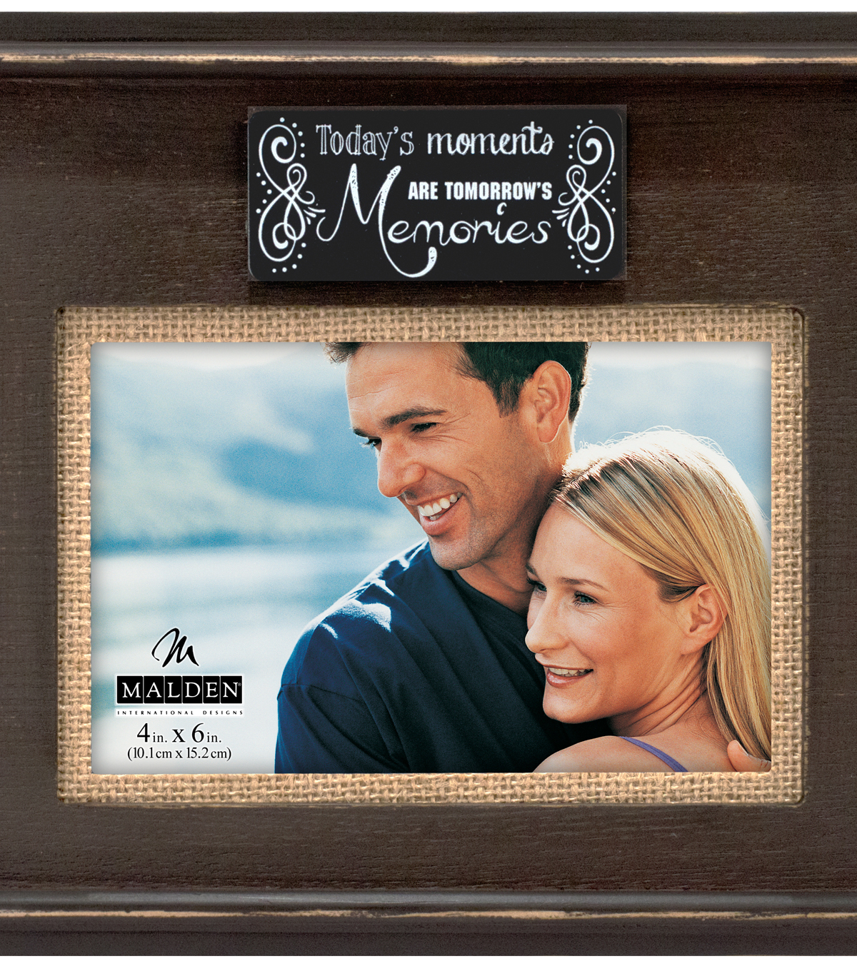 Distressed Wood and Burlap Frame 4x6-Brown Moments/Memories