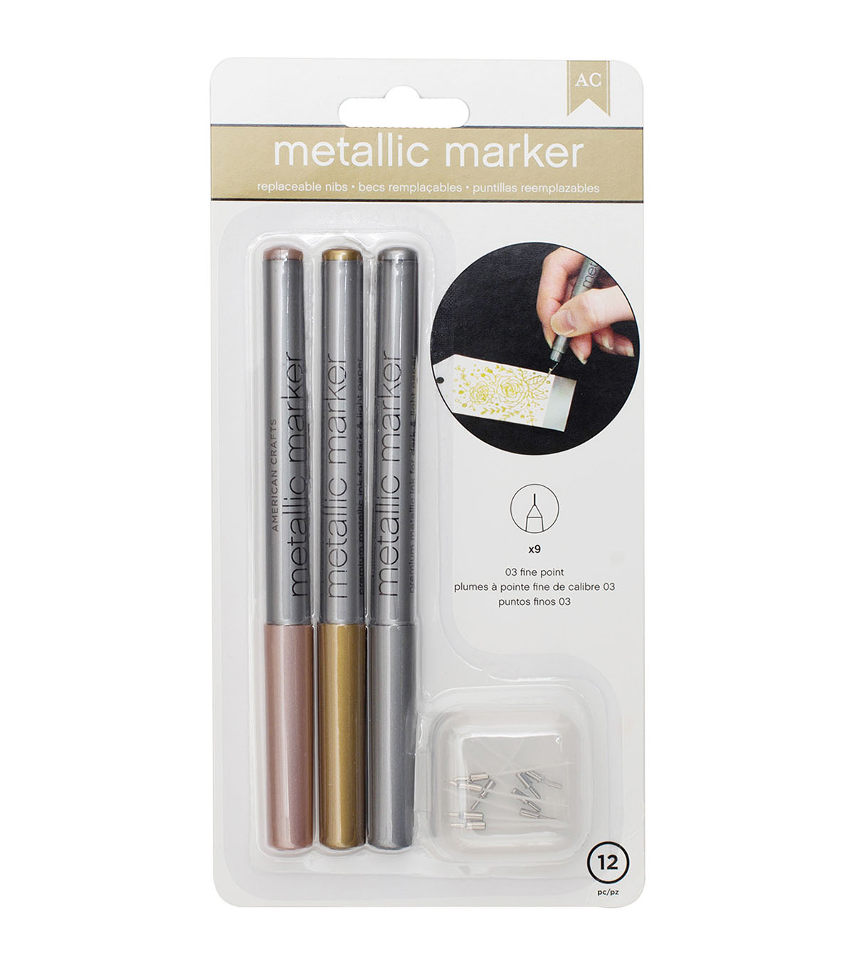 American Crafts™ 9 Pack Metallic Fine Point Markers