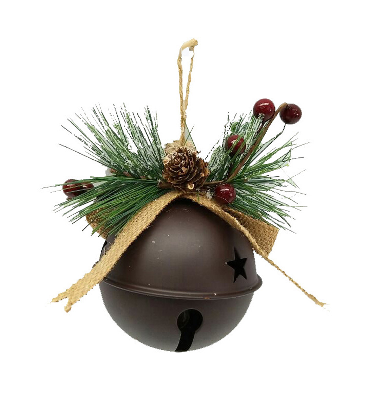 Maker\u0027s Holiday Christmas Woodland Lodge Rustic Giant Bell Ornament