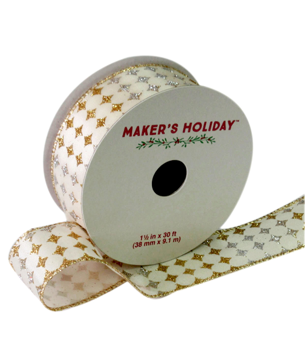 Maker\u0027s Holiday Ribbon 1.5\u0027\u0027x30\u0027-Silver Gold & Ivory Diamond