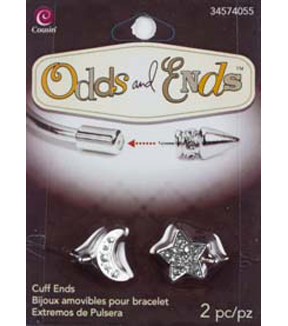 Odds & Ends Bangle Base Ends 2/Pkg-Silver Rhinestone Star And Moon