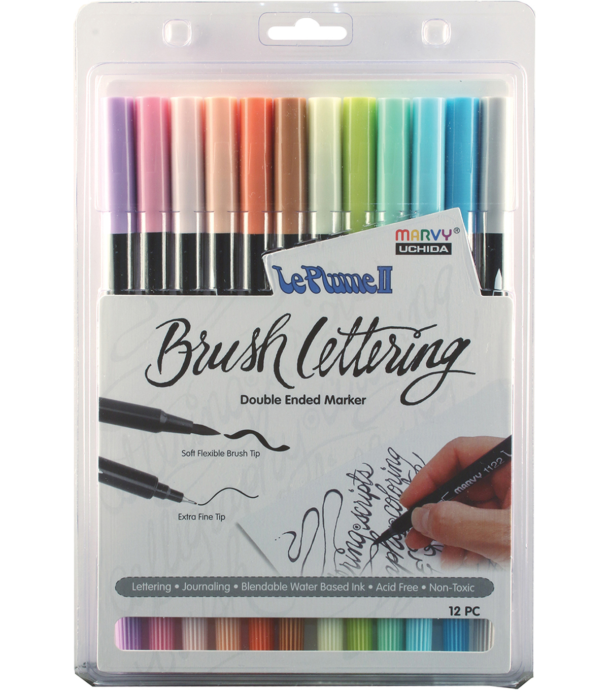 Le Plume II Double-Ended Brush Lettering Marker Set-Pastel