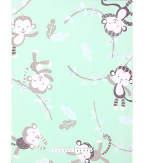 No-Sew Throw Fleece Fabric 48\u0022-Monkey All Over Print Mint