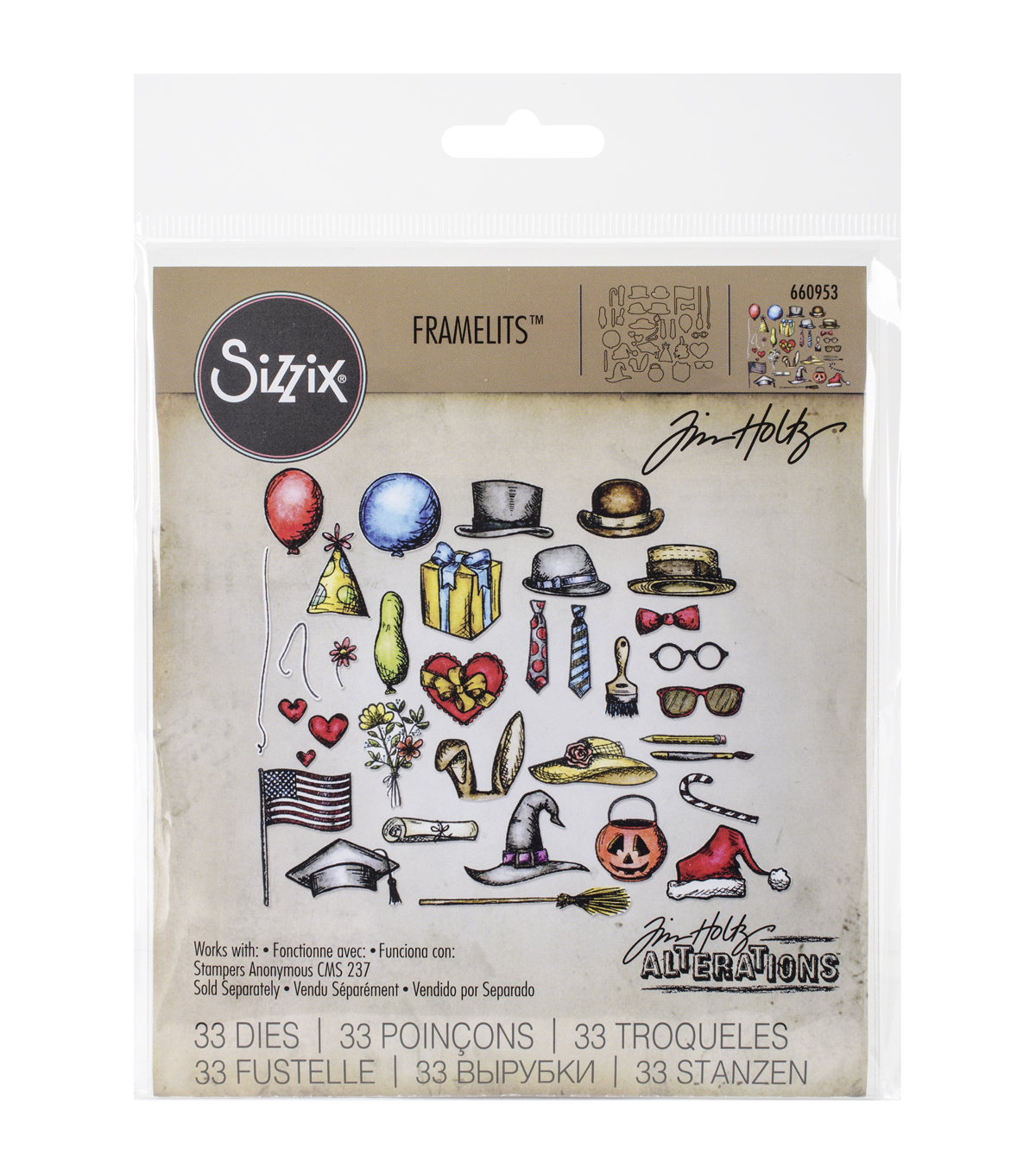 Sizzix Framelits Dies 33/Pkg By Tim Holtz-Crazy Things