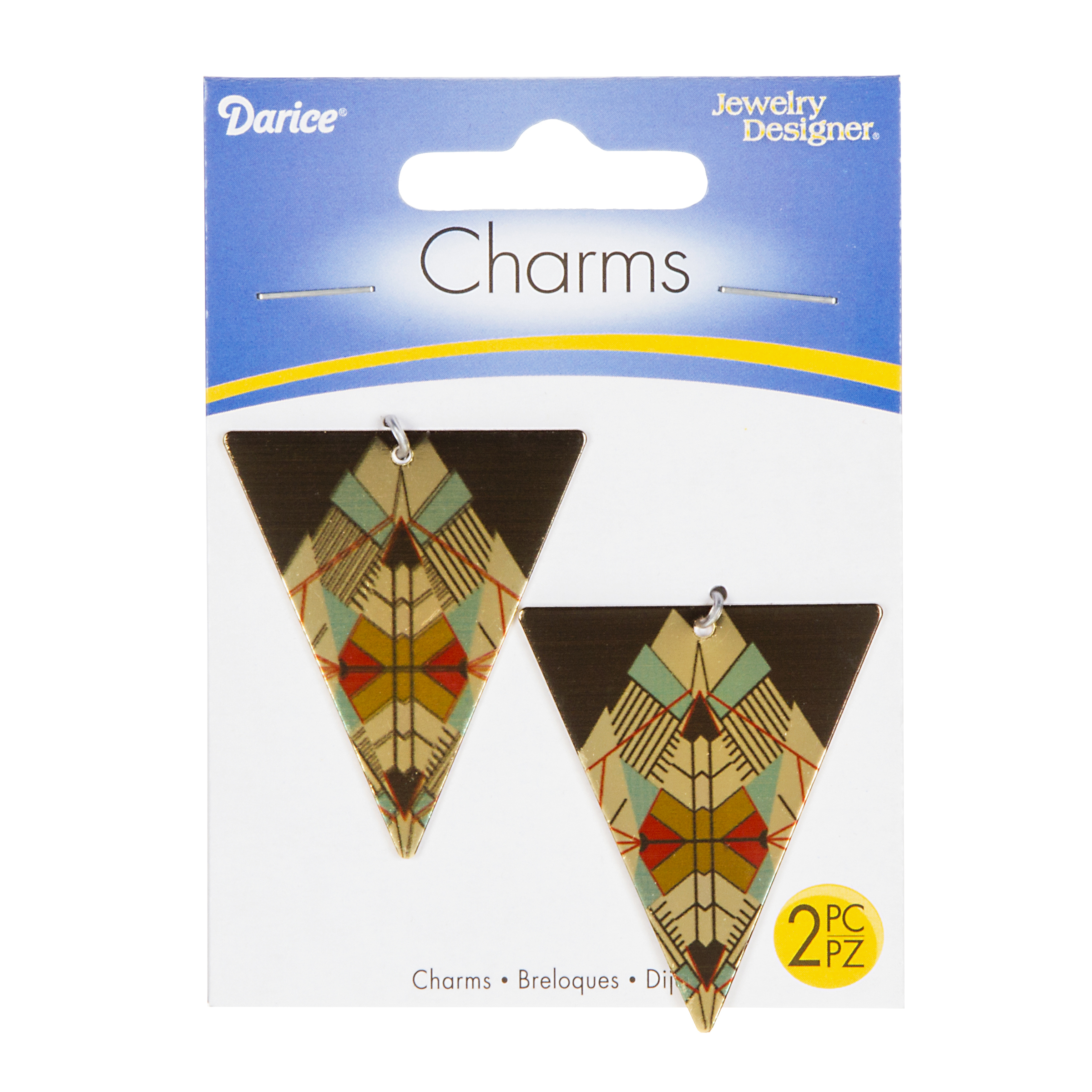 Metallic Patterned Triangle Charms, Black/Gold/Red/Green, 2pcs./pkg