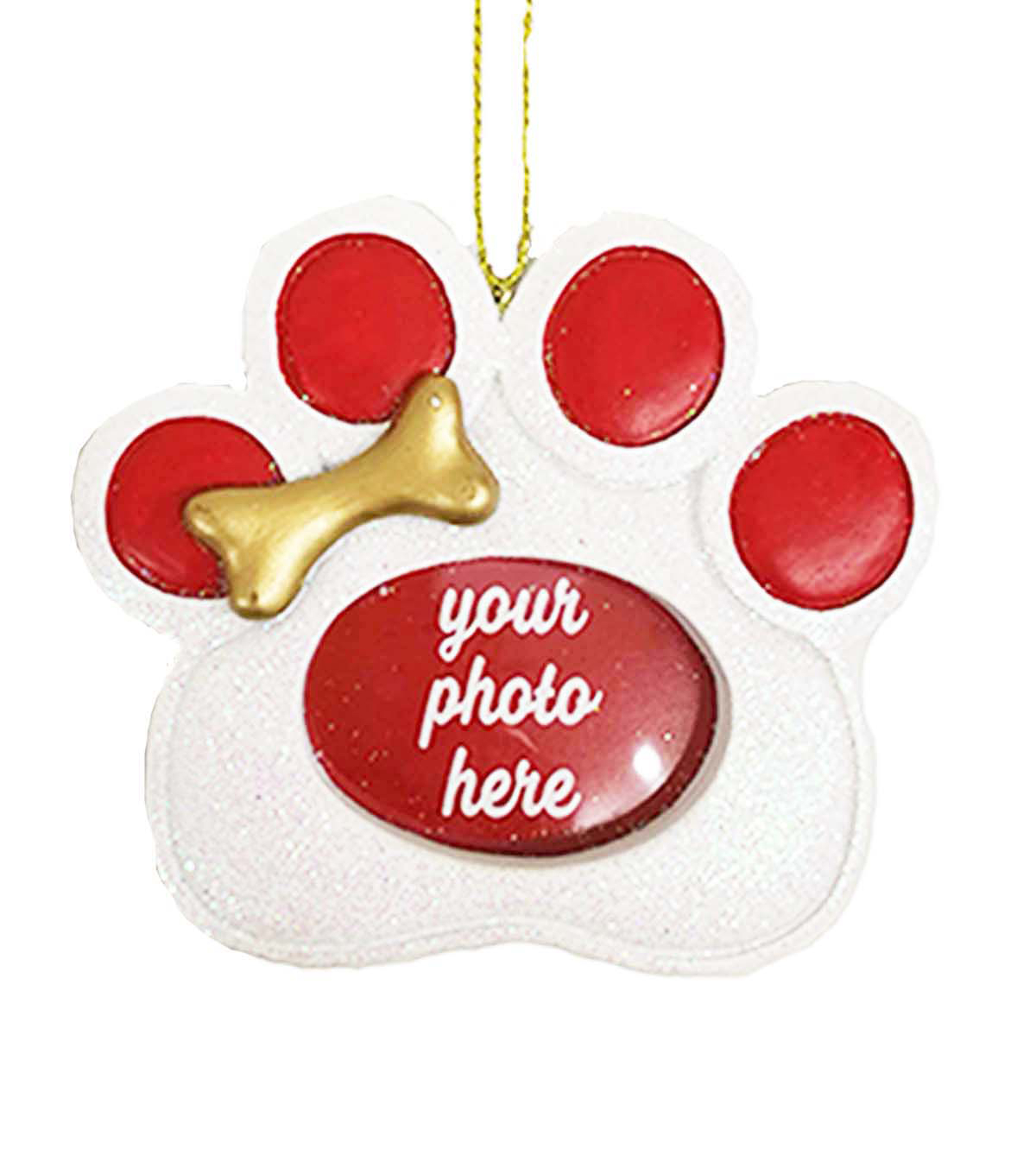 Maker\u0027s Holiday Christmas Dog Paw Print Frame Ornament