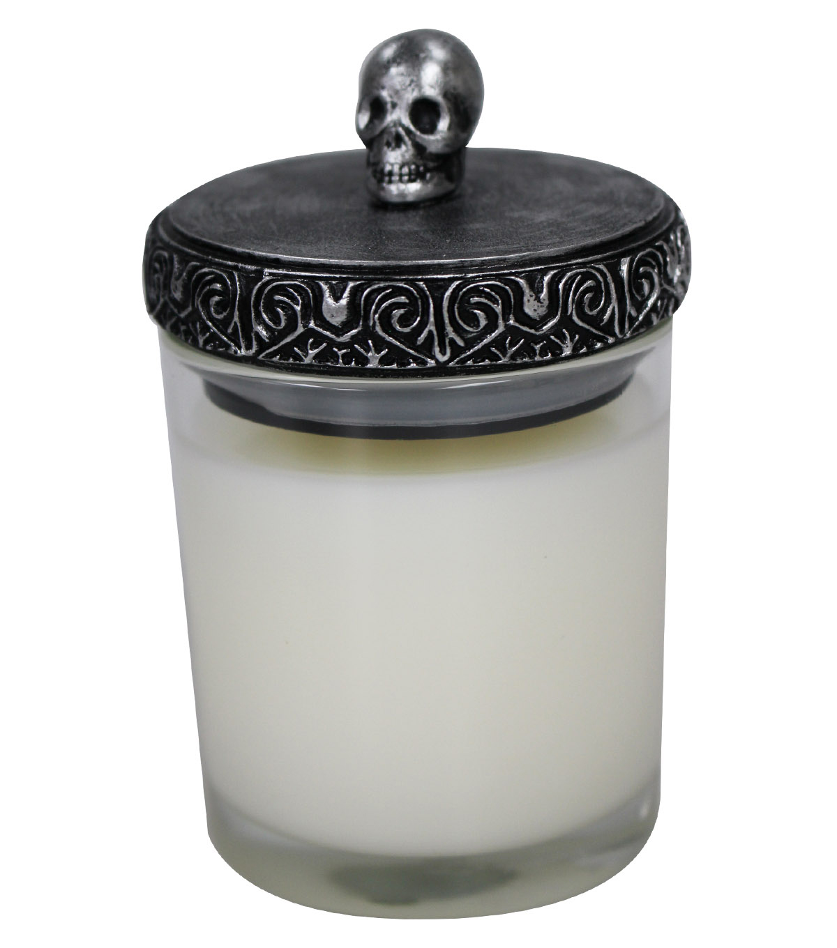 Maker\u0027s Halloween Skull Lid Jar Candle-White