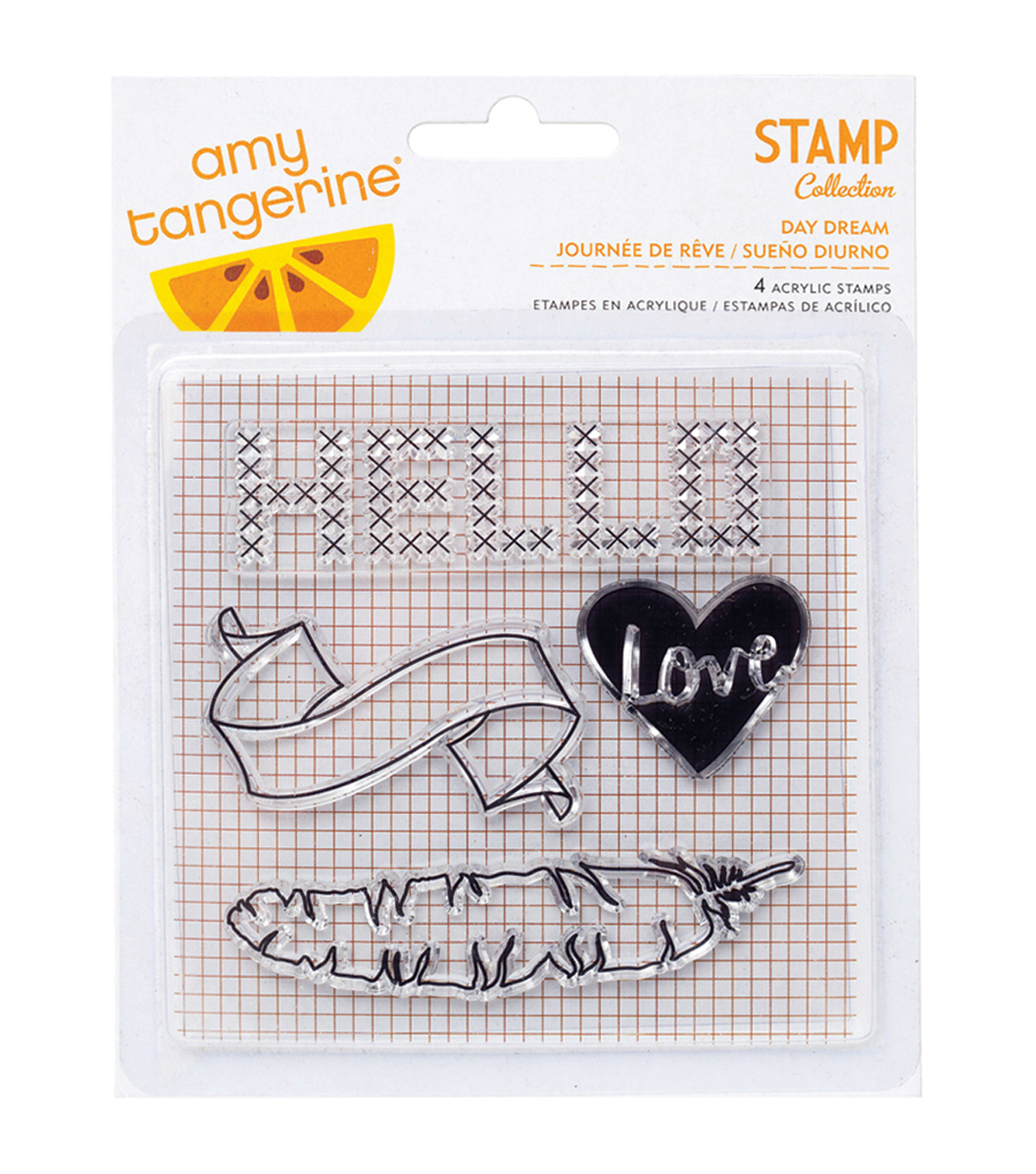 American Crafts Amy Tangerine Day Dream Stitched Clear Acrylic Stamps