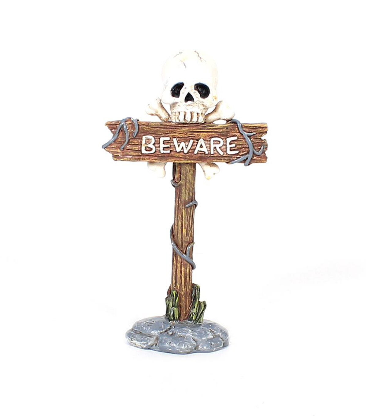 Maker\u0027s Halloween Littles Mini Skull Sign Board-Beware