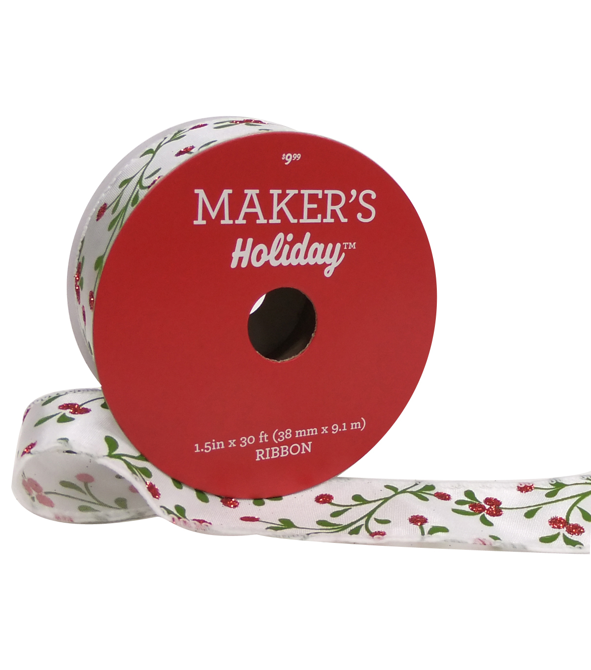 Maker\u0027s Holiday Christmas Satin Ribbon 1.5\u0027\u0027x30\u0027-Red Berry on White