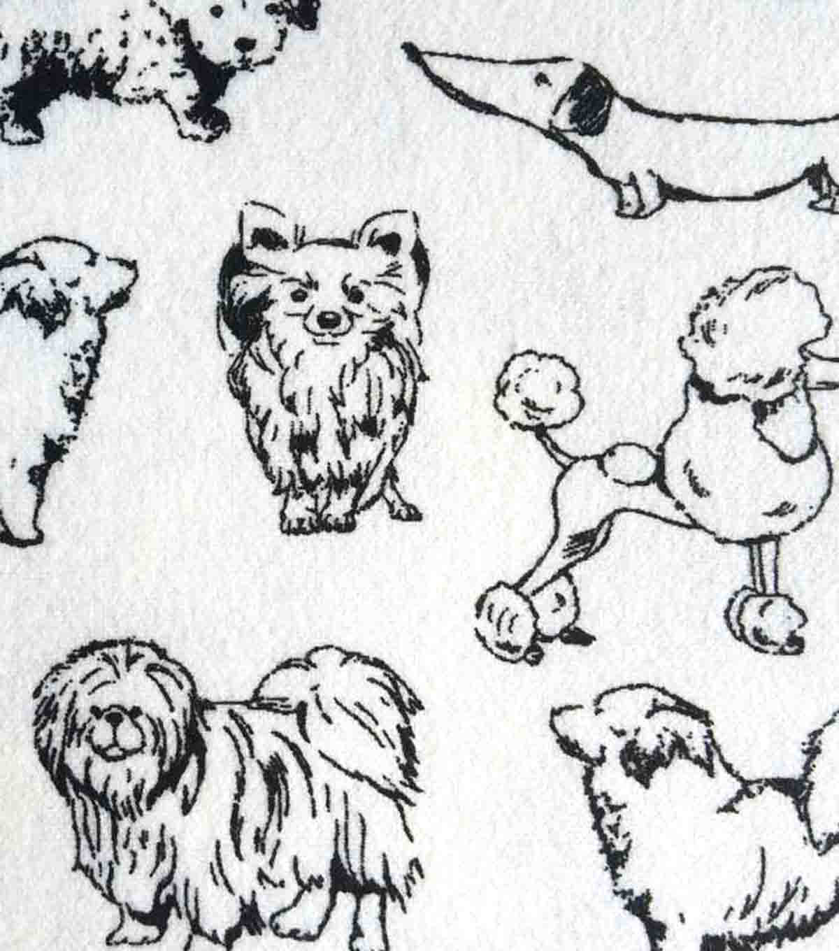 Snuggle Flannel Fabric 42\u0022-Monochrome Dogs