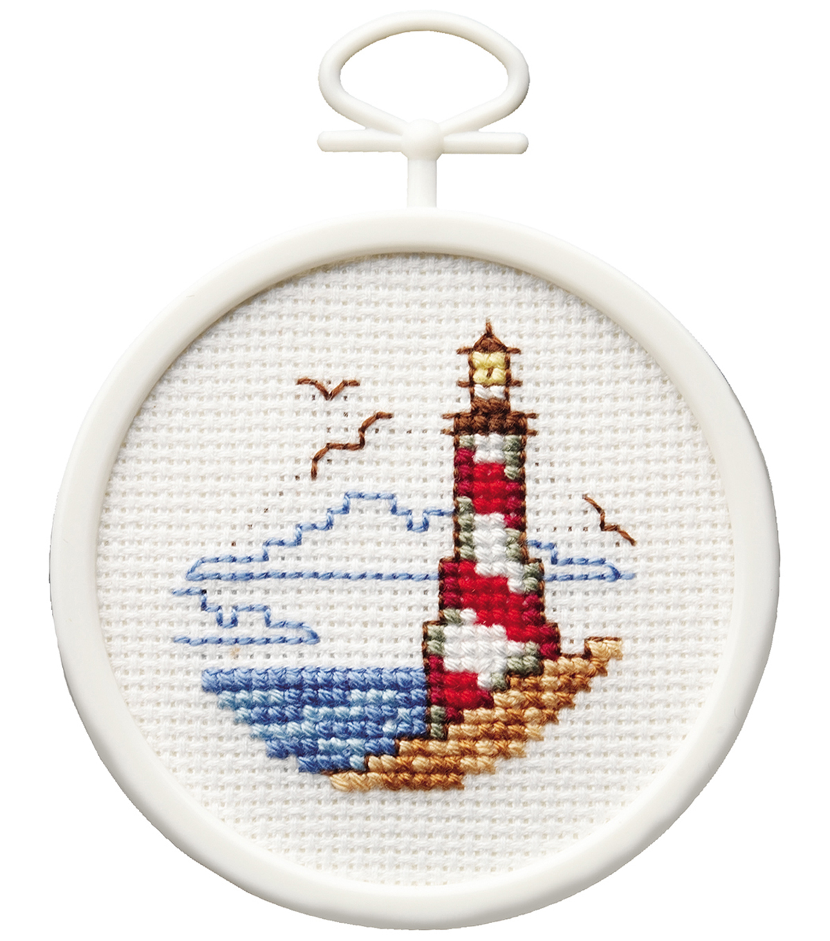 Lighthouse Mini Counted Cross Stitch Kit-2.5\u0022 Round 18 Count