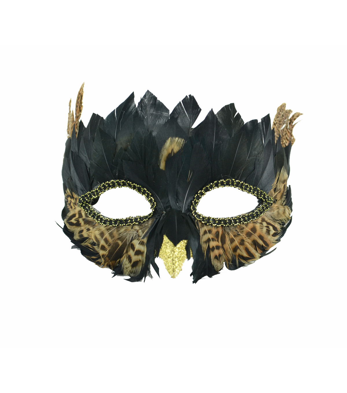 Maker\u0027s Halloween Owl Half Mask with Feathers-Black