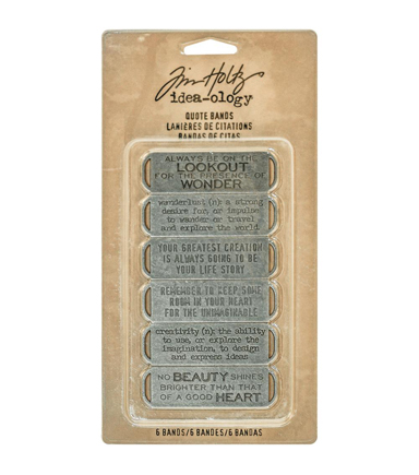 "Tim Holtz Idea-Ology Metal Quote Bands .75""X2.25"" 6/Pkg-Antique Nickel"