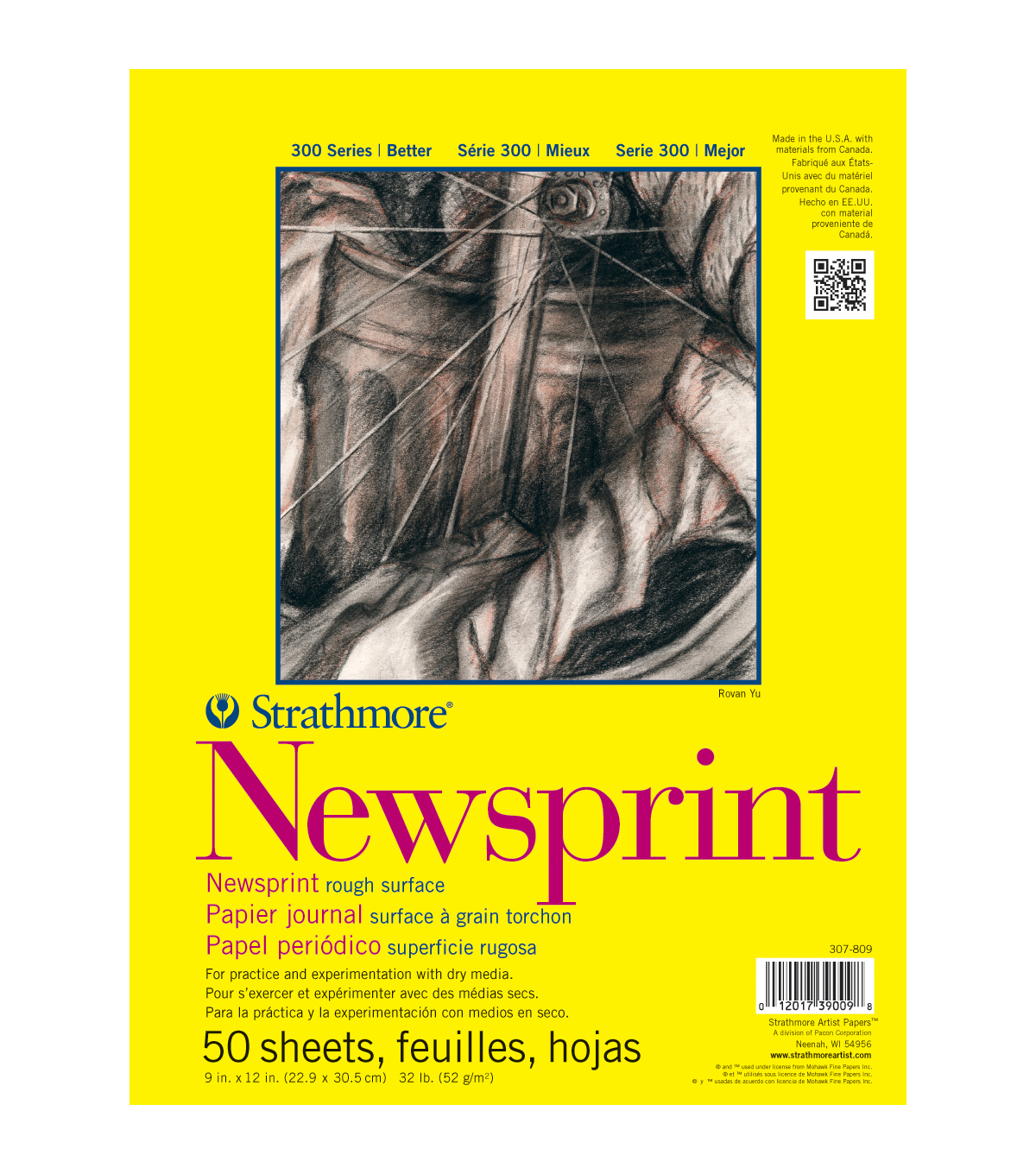 "Strathmore Smooth Newsprint Paper Pad 18""X24""-32lb 50 Sheets"