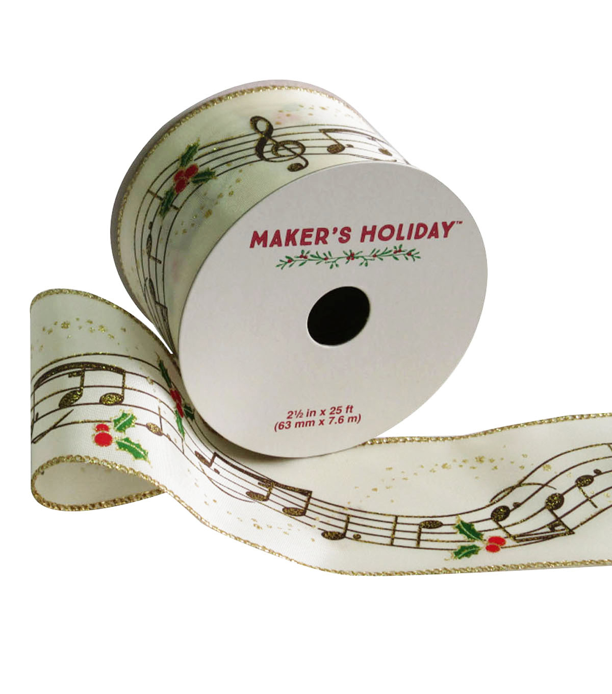 Maker\u0027s Holiday Satin Ribbon 2.5\u0027\u0027x25\u0027-Musical Note & Holly