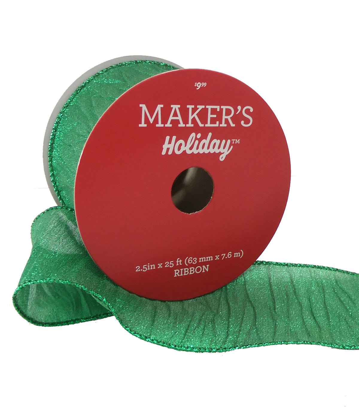 Maker's Holiday Christmas Wrinkled Lame Ribbon 2.5''x25'-Green