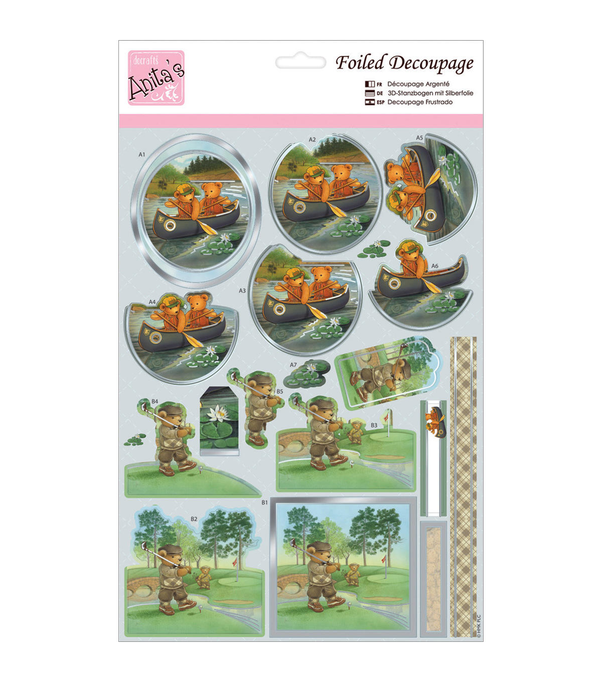 Anita's A4 Foiled Decoupage Sheet-Teddybear Activities