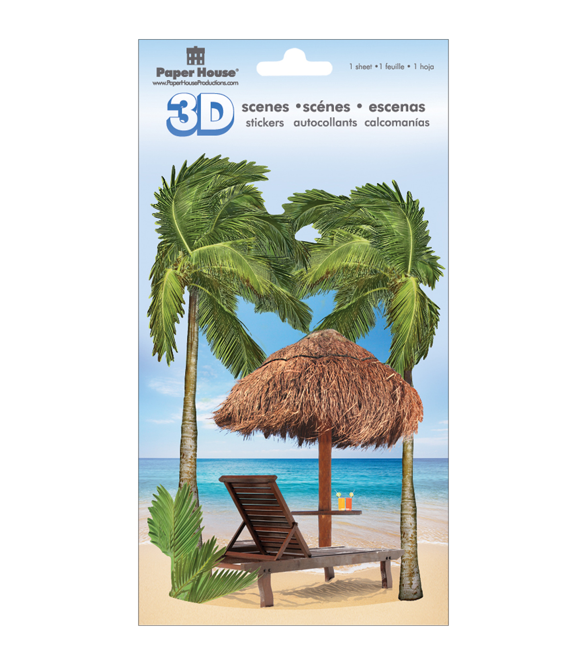 Paper House 3D Stickers-Tropical Beach Scene