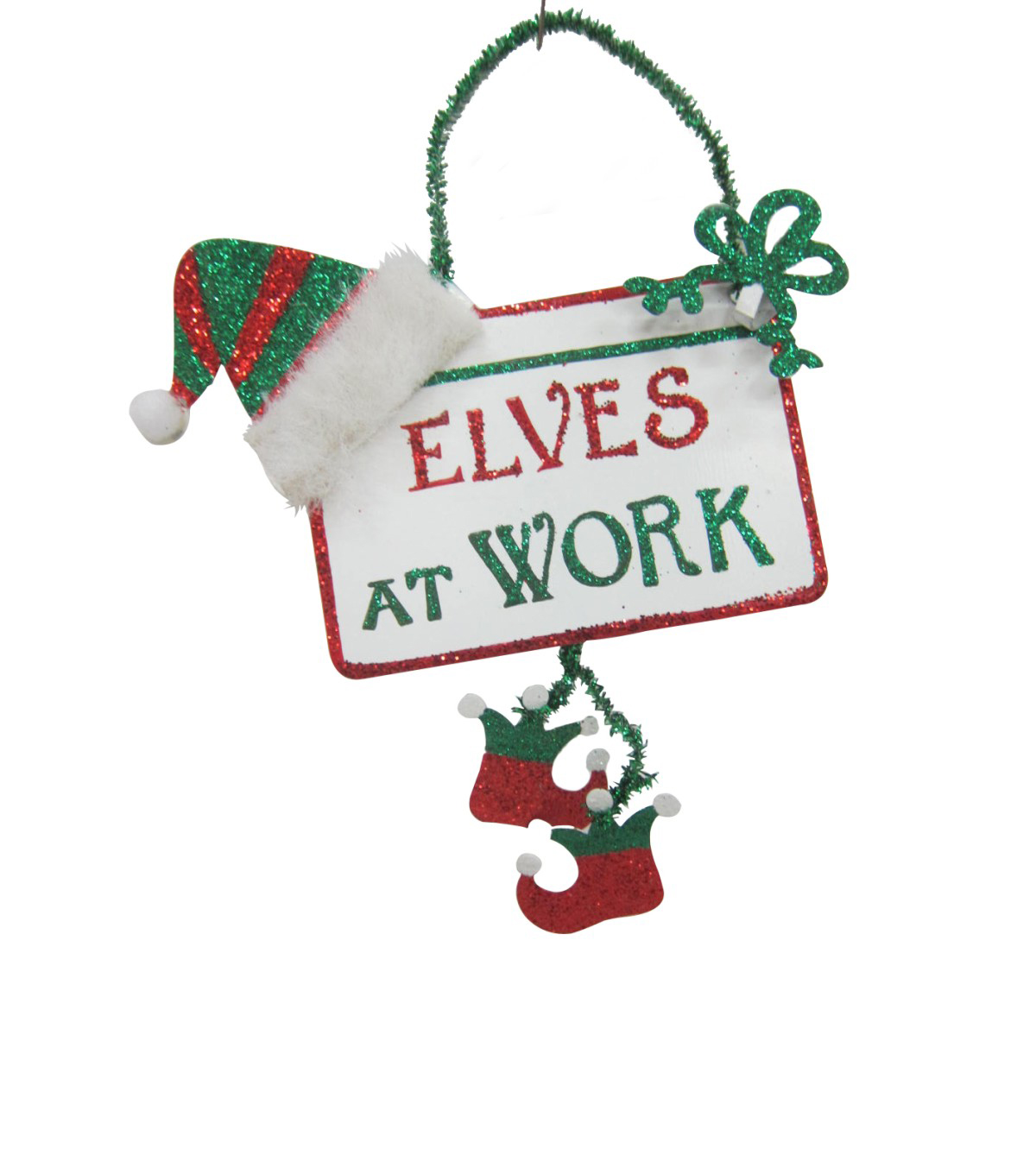 Maker's Holiday Christmas Whimsy Workshop Sign Ornament-Elves At Work