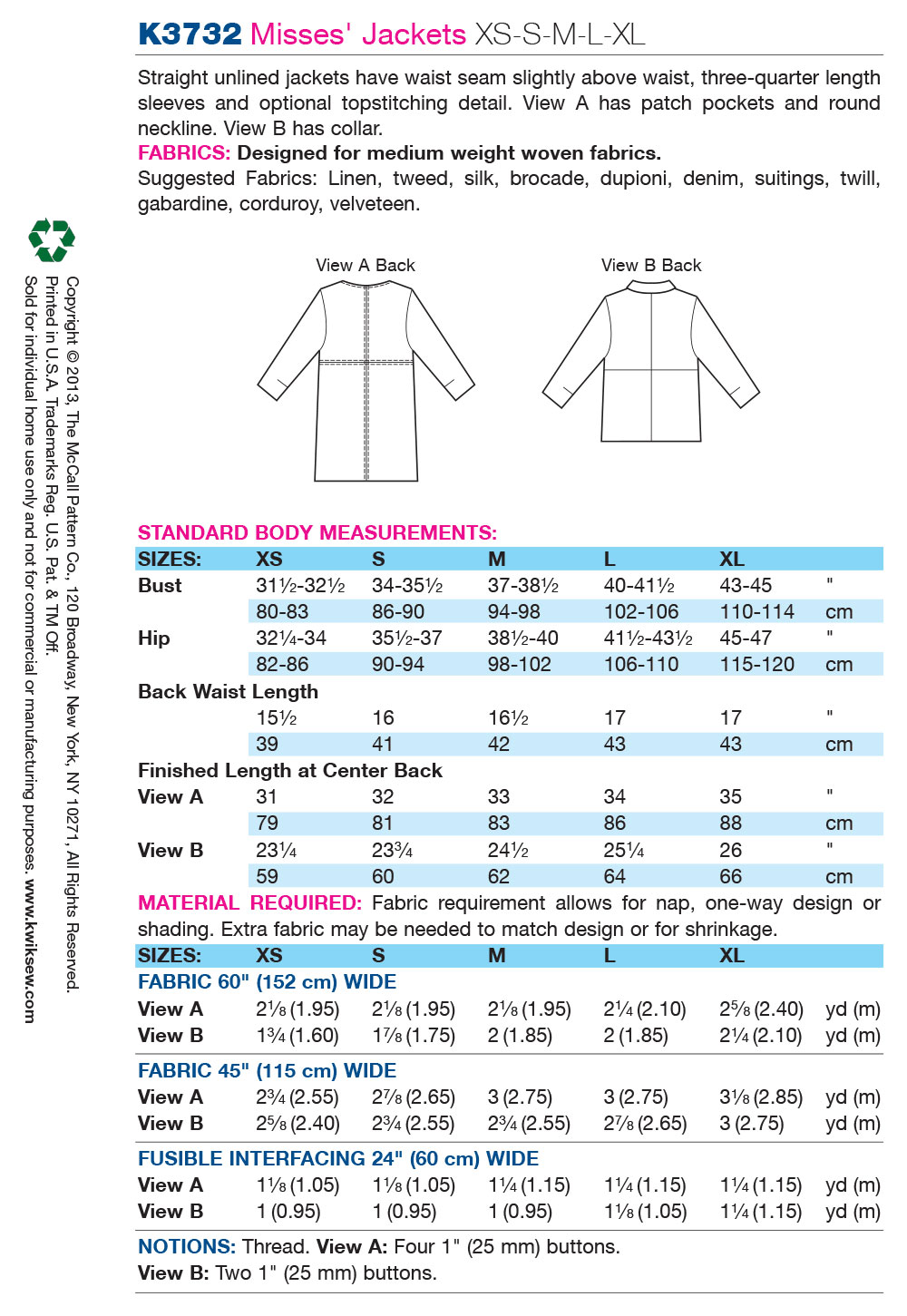 Kwik Sew Misses Jacket-K3732