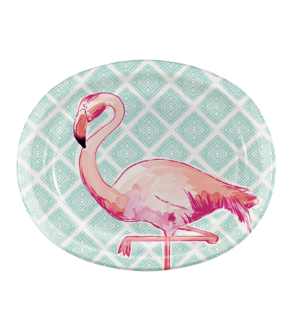 Summer Sol Pack of 8 12\u0027\u0027 Oval Paper Plates-Geometric Flamingo