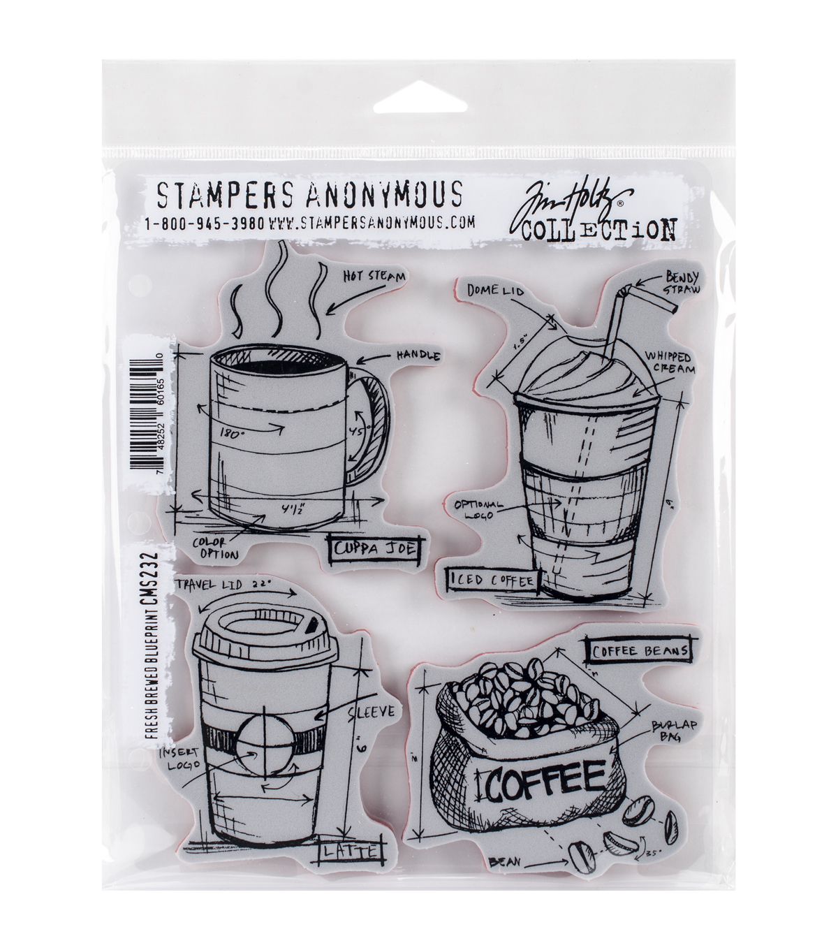 Stampers Anonymous Fresh Brewed Blueprint Cling Rubber Stamp Set