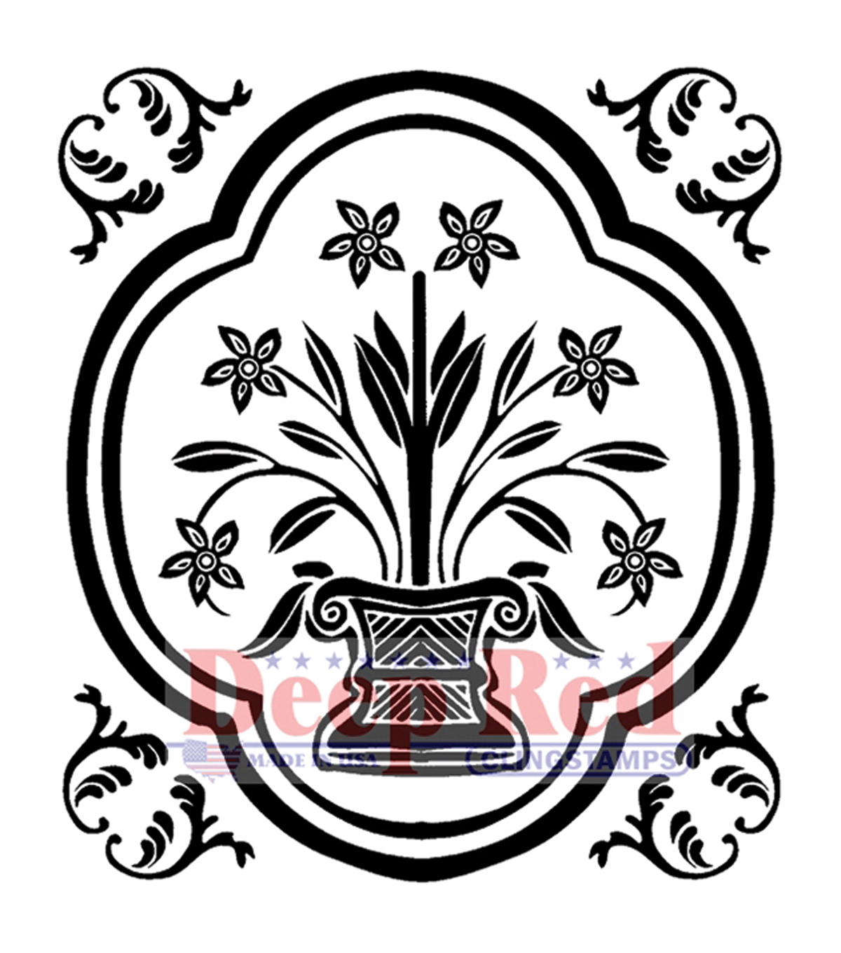 Deep Red Cling Stamp 2\u0022X2\u0022-Folk Vase